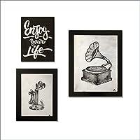 Ares Design Atelier Cuadro Decorativo Fonógrafo/Vintage/Pintado a Mano/Decoración Casa/Sala/Oficina/Hogar
