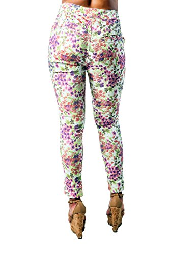 Poetic Justice Women's Curvy Fit Floral Print High Waist Ankle Length Cropped Pant Size 31. x (Perfect Stretch Twill Cropped Pants)