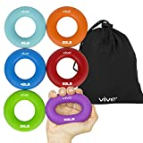 Vive Grip Strengtheners (Multiple Resistances) - Forearm Ring Hand Exercisers - Silicone Squeezer Gripper for Muscle Strengthening Training Tool - Arthritis Finger Physical Therapy PT Kit