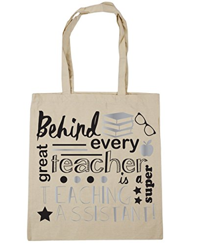 HippoWarehouse Behind Every Great Teacher Is A Super Teaching Assistant Tote Shopping Gym Beach Bag 42cm x38cm, 10 litres Natural