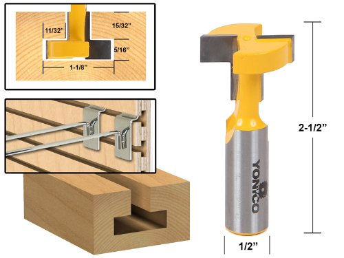 16 Inch Shank Router Bit (Yonico 14189 T-Slot and T-Track Slotting Router Bit 1/2-Inch Shank)