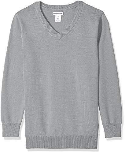 Amazon Essentials Big Boys' Uniform V-Neck Sweater, Light Heather Grey, XL