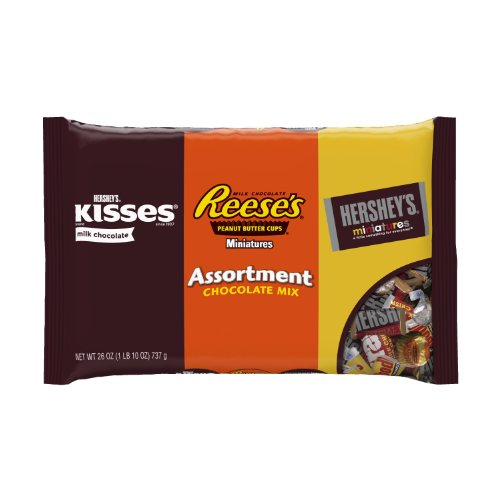 HERSHEY'S Candy Assortment, KISSES Milk Chocolates, REESE'S Peanut Cup Miniatures, and HERSHEY'S Minatures Chocolate Assortment, 26 Ounce Bag (Pack of 2)