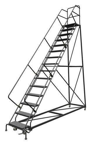 Tri-Arc UKDEC115246 U-Design Configurable 15-Step Forward Descent Incline Rolling Ladder with 24