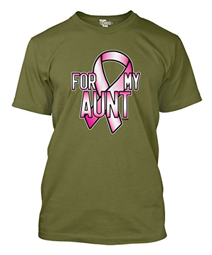Tcombo Pink Ribbon For My Aunt - Breast Cancer Awareness Men's T-shirt (XL, Olive Green) (T-shirt Ribbon Green Pink)