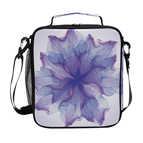 Lunch Box Bag Insulated Lunch Tote Watercoloor Purple Flower Art Thermal Cooler Shoulder Strap Portable Food Container Travel Office School Picnic For Women ()