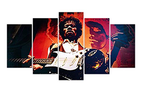 Jimi Hendrix Canvas - Jimi Hendrix guitarist print poster canvas in 5 pieces
