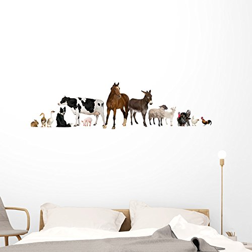 Wallmonkeys Farm Animals Wall Decal Peel and Stick Graphic (60 in W x 17 in H) WM21571 ()