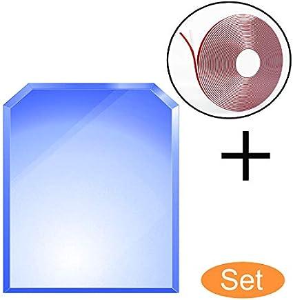 Funkenschutzplatte Glas 50 x 100 cm 6 mm ESG Kamin-Bodenplatte bijon/® Glasplatte f/ür Kaminofen Sechseck mit Dichtlippe Glasbodenplatte Kamin Hitzeschutz