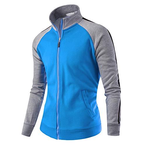 (Realdo Mens Baseball Jacket, Clearance Casual Sport Zipper Splice Color Warm Coat Top Tracksuit(X-Large,Blue))