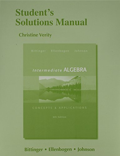 Student's Solutions Manual for Intermediate Algebra: Concepts & Application