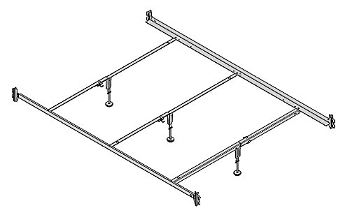 Hospitality Bed Full XL and Queen Size Hook-On Steel Bed Rails With Three Center Supports