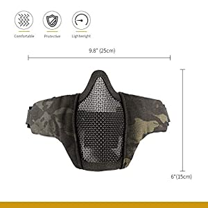 OneTigris 6″ Foldable Half Face Mesh Mask Military Style Comfortable Adjustable Tactical Lower Face Protective Mask