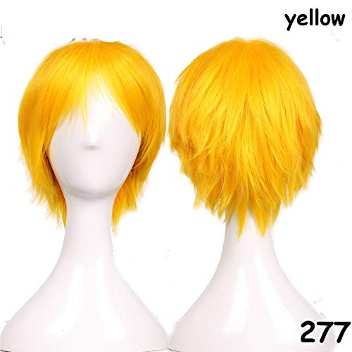 Short Wig Blue Brown Black Women Men Cosplay Costume Party Full Head Wigs Synthetic Hair Yellow 8inches -