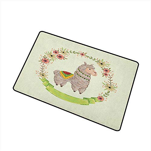 - Llama Non Slip Doormat Colorful Watercolor Floral Wreath and South American Animal Illustration with Banner All Season Universal 24