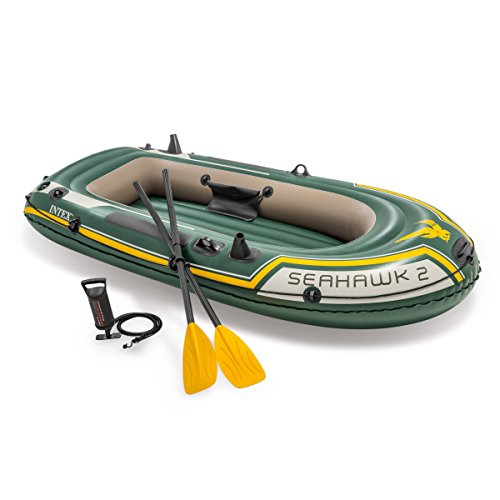 Intex Seahawk 2, 2-Person Inflatable Boat Set with French Oars and High Output Air (2 Person Inflatable Boat)