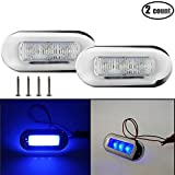 "IZTOSS 2PCS 3"" x 1.25"" Marine Led Courtesy Light Polished SS Oblong Accent Clear/White-cold light"