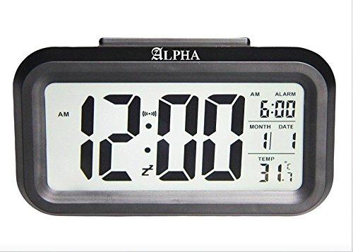 4.6'' Battery Digital Smart Backlight Alarm Clock Snooze, Optional Weekday Alarm, Date, Temperature with Sensor Light (Black)