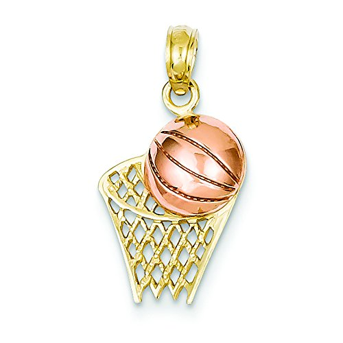 14K Two-tone Gold Basketball Hoop with Ball Charm Pendant (Gold Basketball Two Tone)