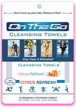 On The Go Towels Citrus Refresh Large Cleansing Wipes (10 Pack)