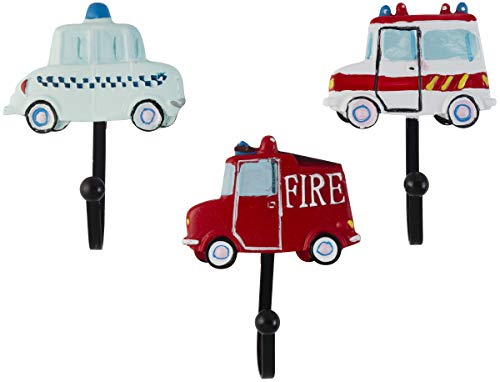 Decorative Vintage Police Car, Ambulance and Fire Truck Resin Wall Coat Hooks (Set of 3)