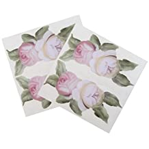 2X Victorian Vintage Rose Flower Double Decal Sticker cover Kit Red, pink, cream and white, designed to fit all KitchenAid stand mixers, including Professional Pro 600, Artisan, Ultra Power, 4, 5, 6 qt quart mixers, without accessory interference.