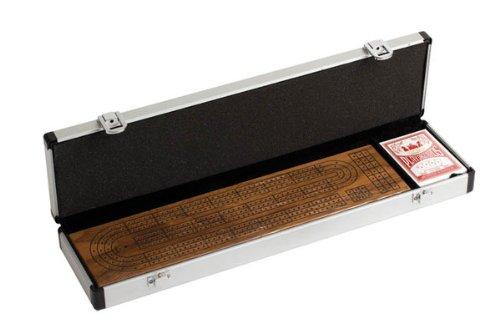 CHH 3 Track Walnut Cribbage Set in Aluminum Case (Cribbage Aluminum Board)