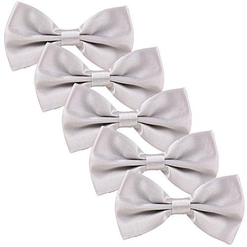Party Color Tied Solid Wedding Bow Tie Men's HDE Adjustable 5 Silver of Formal Pack Pre T1ECn