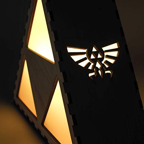 (The Legend of Zelda - Triforce Night Lamp - Laser cut and engraved accent lighting in wood. Includes LED light bulb and remote control with the lamps.)