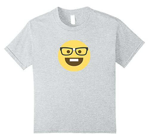 Nerd Costume Ideas Girl (Kids Emoji Nerd Shirt Yellow Face Geek Costume Glasses Gift 12 Heather Grey)