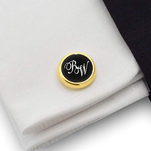 Black and gold cufflinks Gold cufflinks Engraved Round Cufflinks Wedding Cufflinks 925 Silver 14K gold plated Balck Onyx stone, Gift Message, Box, Handmade