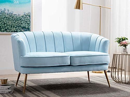 Altrobene Velvet Loveseat Comfy Soft Tufted Couch Modern Adult Sofa