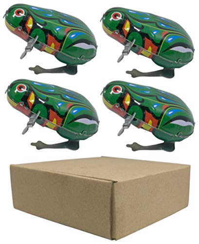 Small Toy Tin - 4 pcs Box Jumping Frog Retro Vintage Wind-up Metal tin Toy, Cool Crazy Gift kek Pepe