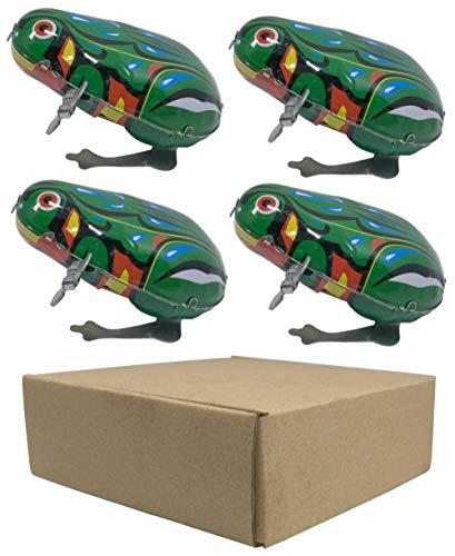 4 pcs Box Jumping Frog Retro Vintage Wind-up Metal tin Toy, Cool Crazy Gift kek Pepe