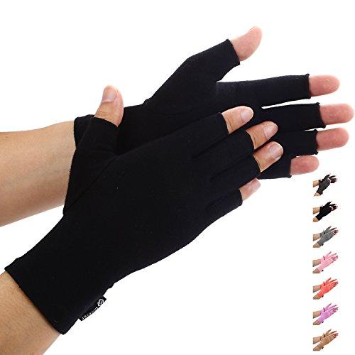 (Duerer Arthritis Gloves Women Men-Compression Gloves for Pain Relief-RSI, Carpal Tunnel, Rheumatoid & Osteoarthritis Hand Gloves(DarkBlack, L))