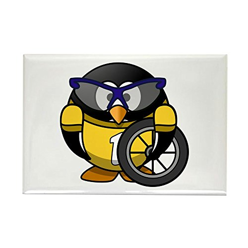 Rectangle Magnet Little Round Penguin - Cyclist in Yellow Jersey