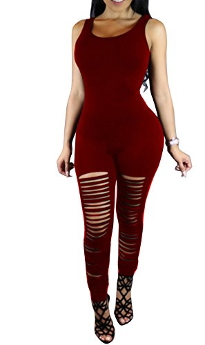 [Xuan2Xuan3 Women Spaghetti Strap Bodycon Tank One Piece Jumpsuits Rompers Playsuit S Style3 Wine] (Stretch Jumpsuit)