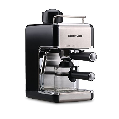 Excelvan CM6812 800W Mini Stainless Steel Coffeemaker Espresso Machine Steam Espresso Cappuccino Maker(4 Cup,3.5 Bar)