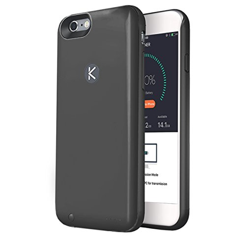 KUNER Battery Case for iPhone 6/6s (2,400mAh) with Built-in 16GB Storage, Black