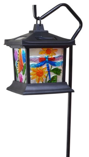 Moonrays 92276 Solar Powered Hanging Floral Stained Glass LED Light (Gift Ideas $25 Christmas)