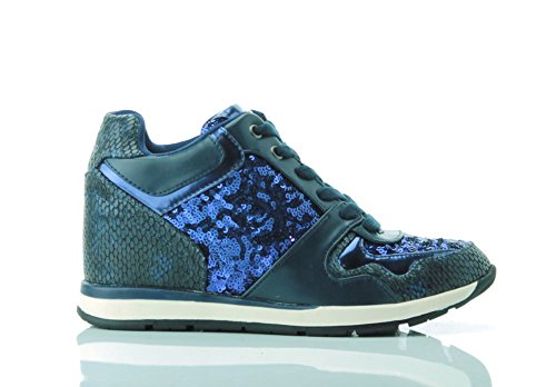 GUESS (Laceyy) Sneaker Donna Ecopelle Tessuto Rialzo Paillettes FLLCY3FAB12