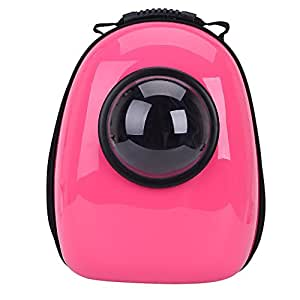 Minigum Innovative Patent Bubble Pet Carriers Traveler Bubble Backpack Pet Carrier for Cats and Dogs Both the Mesh and the Bubble Cover (Pink)