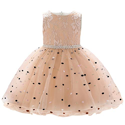 Baby Party Dresses - Baby Girl Dresses Newborn Baby Dresses Toddler Girl Special Occasion Dresses Baby Formal Dress Lace Wedding Party Dress for Toddler Baby Girl(L1900XZ,Champagne,80)