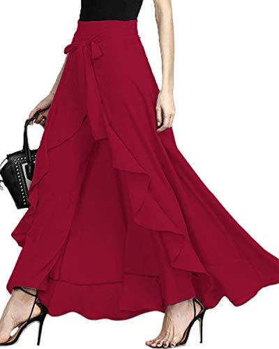 GIKING Women Ruffle Pants Full Length Split High Waist Retro Maxi Long Skirt Wine Red L