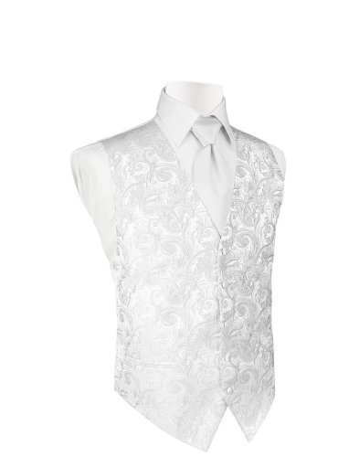 Cardi Men's Silk Tapestry Tuxedo Vest and Bowtie, XXXXX-Large White by Cardi