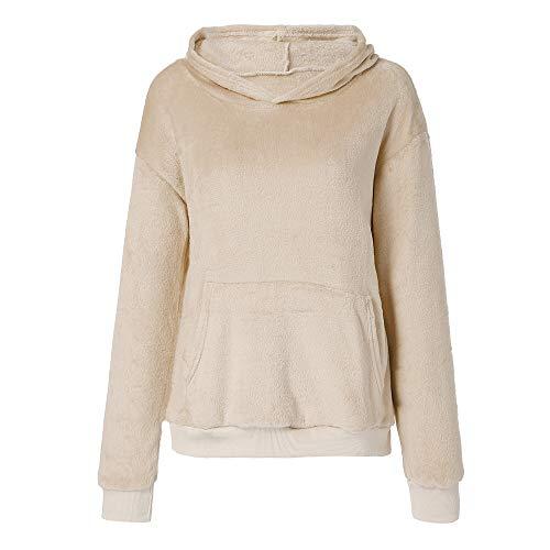 - Oksale Women Hooded Sweatshirt Coat Winter Warm Wool Zipper Pockets Cotton Coat Outwear (Khaki, S)