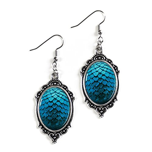 Dark Blue Dragon Scale Eggs 18x25mm Cameo Glass Silver Filigree Earrings -