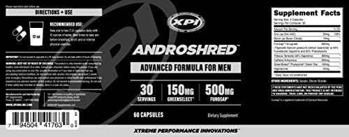 AndroShred - Hardcore Fat Burner - Build Lean Muscle - Increase Strength, Power, Lean Muscle, Energy, & Fat Loss - Diet Pill for Men (1 Bottle)