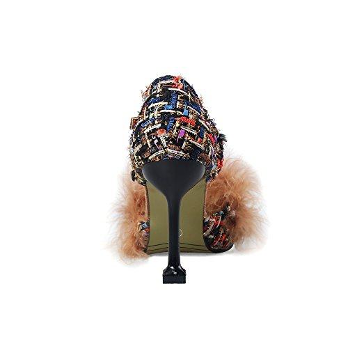 JIEEME z616A1 - Tira de Tobillo de Material Sintético Mujer Negro\r\n