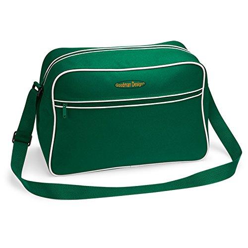 Retro Shoulder Messenger Bag/ Umhängetasche/ Schultasche/ Sporttasche mit Tragegürtel - Dunkel-Grün - Goodman Design ® Z0RQK3R